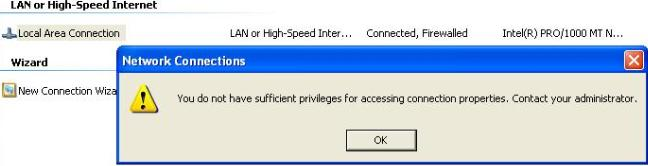"Error: ""You do not have sufficient privileges for accessing"